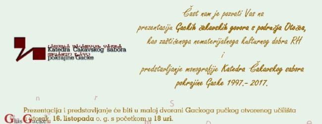 Prezentacija Gackih čakavskih govora i monografije